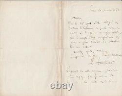 1882 Letter Signee Louis Pasteur