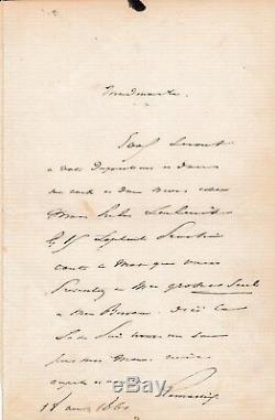 Alfonso De Lamartine Signed Autograph Letter