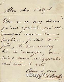 Alfred De Musset Autograph Letter Signed To P. J Hetzel