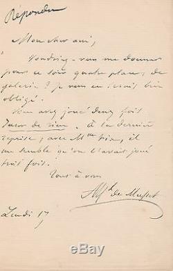 Alfred De Musset Signed Autograph Letter