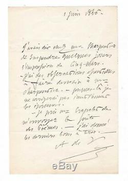 Alfred De Vigny / Letter Autograph Signed (1846) / Cinq-mars
