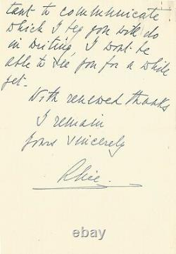 Alice From Battenberg Autograph Letter Signed On Elizabeth II And Philip. 1947