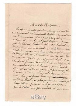 Alphonse Daudet / Signed Letter (1897) / Tolstoy / Tobacco / Alcohol