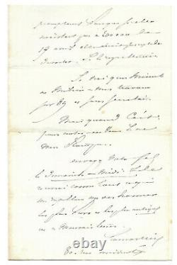 Alphonse De Lamartine / Autograph Letter Signed On Victor Hugo / Second Empire