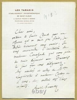 Anatole France (1844-1924) Nice Autograph Letter Signed In 1918 Nobel Prize