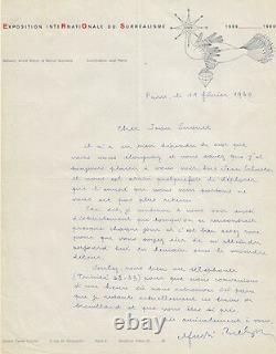 André Breton. Signed Autograph Letter. Surrealism. 1960