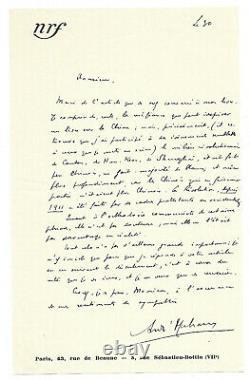 André Malraux / Signed Autograph Letter / La Condition Humaine / Prix Goncourt