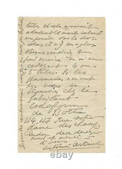 Antonin Artaud / Autograph Letter Signed / Drugs / Medicine / Psychiatry