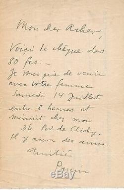 Art Pascin Autograph Letter Signed Julius Mordecai Pincas