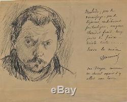 Art Pierre Georges Jeanniot Autograph Letter Signed Drawing Self Portrait