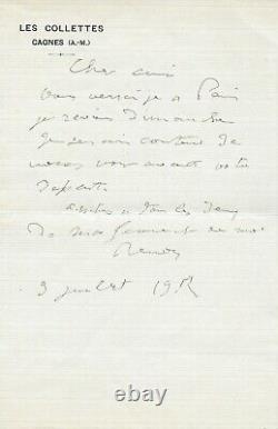 Auguste Renoir Autograph Letter Signed Impressionist Painting