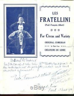 Autograph Letter Signed 3 Clowns Fratellini Paul Albert-francois In 1926