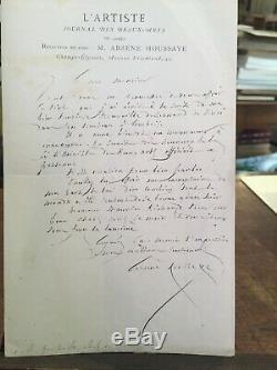 Autograph Letter Signed Arsene Houssaye. 1869 Tomb Of Leonardo Da Vinci