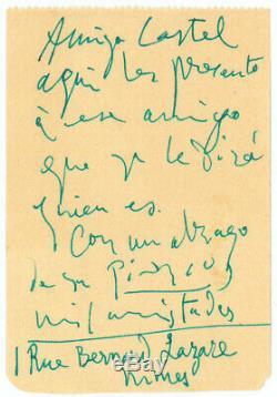 Autograph Letter Signed By Pablo Picasso André Castel Leiris-arena-nimes