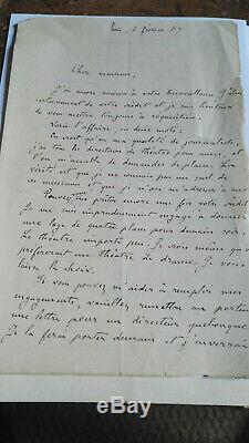 Autograph Letter Signed Emile Zola Alexandre De Lavergne Beautiful Correspondence