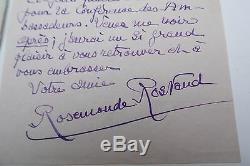 Autograph Letter Signed Rostand Rosamond Ambassadeurs Conference 1941