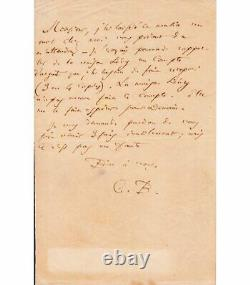 Baudelaire Charles. Poet. Autograph Letter Signed To His Copyist Ed. Laumonier