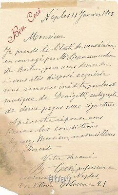 Beniamino Cesi Pianist Teacher 2 Autograph Letters Signed Donizetti