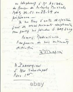 Bernard Parmegiani Acoustic Electro Music Autograph Letter Signed Student