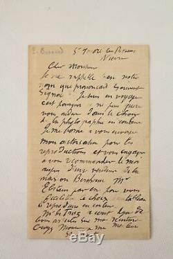 Bonnard Autograph Letter Signed By One And A Half E. O Autograph 1920
