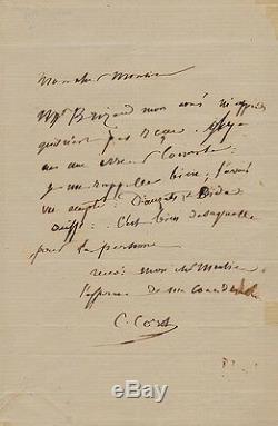 Camille Corot Autograph Letter Signed At Clément De Ris