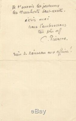 Camille Pissarro Autograph Letter Signed To His Son Rodolphe. 1902