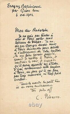 Camille Pissarro / Signed Autograph Letter On The Funeral Of Emile Zola. 1902