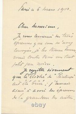 Carolus Duran Painter Autograph Letter Signed Reproduction Works Photo Braun