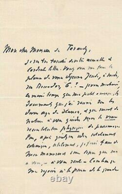 Catulle Mends Autograph Letter Signed On The Character Of Scarron Theatre
