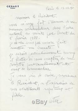 Cesar Autograph Letter Signed In Francois Mitterrand