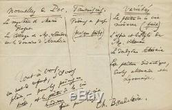Charles Baudelaire Autograph Letter Signed Small Prose Poems