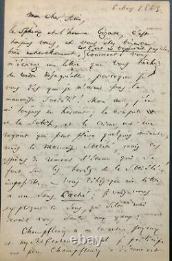Charles Baudelaire Important Signed Autograph Letter Addressed To Champfleury