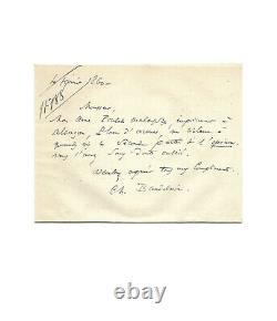Charles Baudelaire / Signed Autograph Letter / Opium / Les Paradis Artificiales