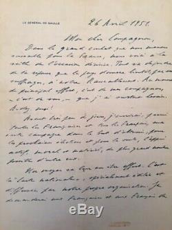 Charles De Gaulle Autograph Letter Signed 1951- Autograph Letter Signed