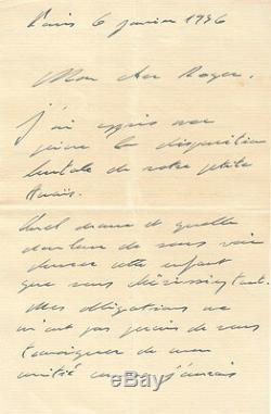 Charles De Gaulle Autograph Letter Signed By R. Cavalier. 1936. Condolences