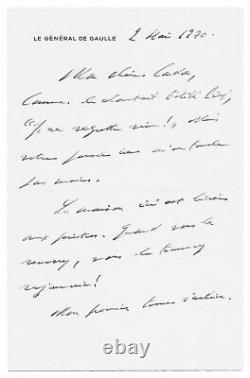 Charles De Gaulle / Autograph Letter Signed / Edith Piaf / His Memoirs / 1970