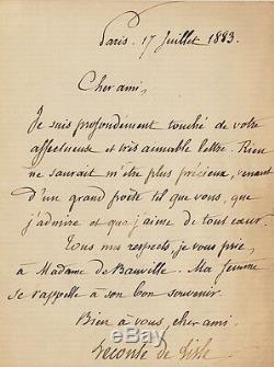 Charles Leconte De Lisle. Autograph Letter Signed By Theodore De Banville. 1883