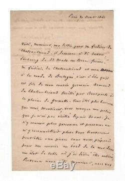Chateaubriand / Signed Letter (1841) / The Vow To Be Buried At The Edge Of The Sea
