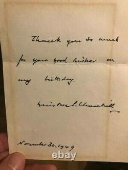 Churchill Winston Autograph Letter Signee 1949 Birthday Rare