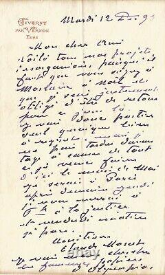 Claude Monet Autograph Letter Signed About The Olympia Of Manet. Giverny