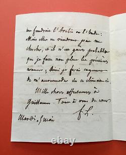 Congratulation Of Lammenais Autograph Letter Signed To Baron De Vitrolles