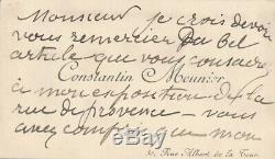 Constantin Meunier Beautiful Card Signed His Autograph Pity Emotion Art Descaves