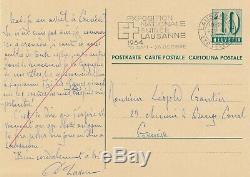 D. Lasserre Swiss Historian Autograph Card Signed Napoleon Hitler Comparison