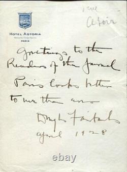 Douglas Fairbanks Rare Letter Signed Autograph 1928 Paris Hotel Astoria