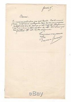 Edmond De Goncourt / Autograph Letter Signed (1875) / At Philippe Burty