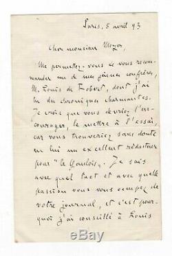 Emile Zola / Autograph Letter Signed (1893) / Recommendation From Robert Louis De