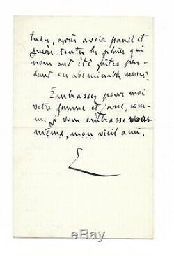 Emile Zola / Autograph Letter Signed / Dreyfus Affair