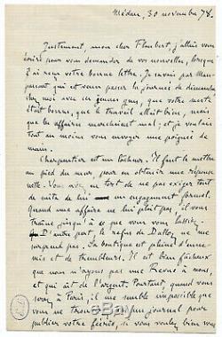 Emile Zola / Autograph Letter Signed / Nana / The Bilingual / Flaubert