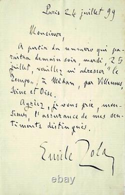 Émile Zola Back From Exile Autograph Letter Signed To Newspaper Le Temps