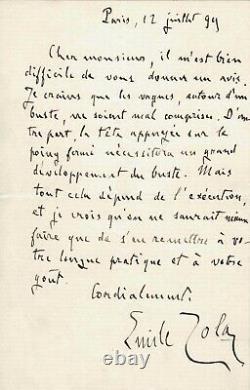 Émile Zola Signed Autograph Letter About A Bust With Its Effigy. Dreyfus